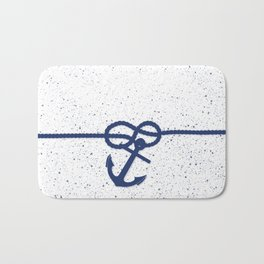 Nautical navy blue white anchor watercolor splatters Bath Mat