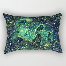 Galaxy NEBULa  : Pillars of Creation Green Rectangular Pillow