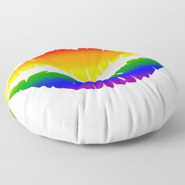 LGBTQ Kiss Lips Rainbow Floor Pillow