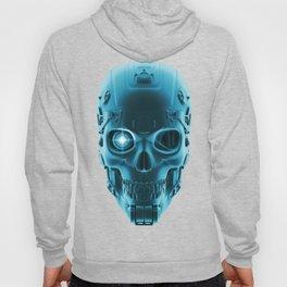 Gamer Skull BLUE TECH / 3D render of cyborg head Hoody