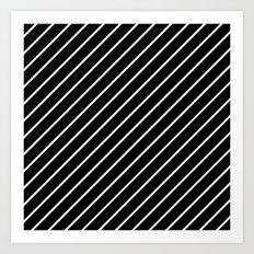 Hot 80s Style Diagonal Black and White Geometric Pattern Art Print