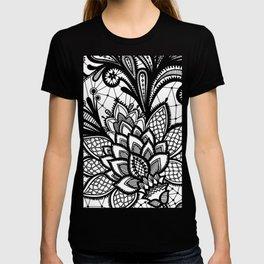Black floral lace vintage pattern T-shirt