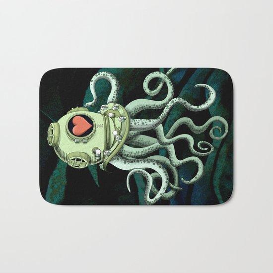 octopus diver in love Bath Mat