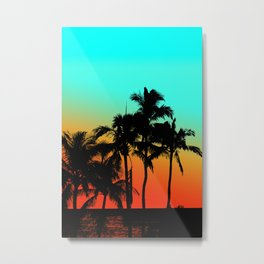 Maui Sunset Palms Metal Print