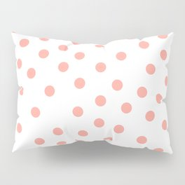 Simply Dots in Salmon Pink on White Pillow Sham