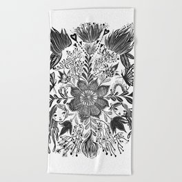 Me and you, day and night in our messy garden Beach Towel