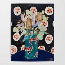 Dark Floral Still Life with Banksia Pods and Tigers Poster