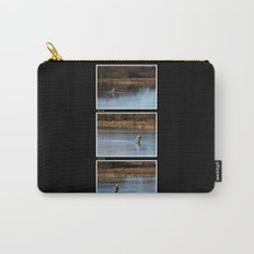 Gone Fishing Triptych Black Carry-All Pouch