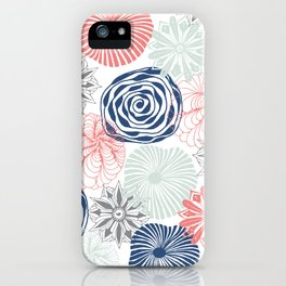 Floral Pattern in Coral Red, Navy Blue and Aqua iPhone Case