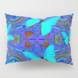 BLUE NEON BUTTERFLIES &  BLUE LINE PURPLE DRAWING Pillow Sham