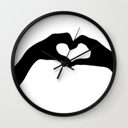 Hearts out of Hands - Silhouette Wall Clock