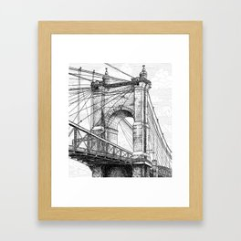 Roebling Bridge, Rolling Clouds Framed Art Print