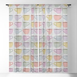 Colorful Cups Sheer Curtain
