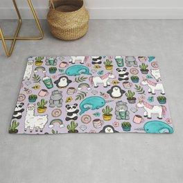 Narwhal and Friends, Emoji Tween Print, Unicorn, Cute Panda, Frappuccino, Penguin, Hippo Girls Art Rug