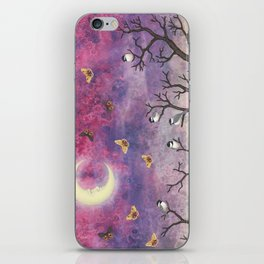 chickadees and io moths in the moonlit sky iPhone Skin