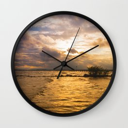 Weather over the lake Wall Clock