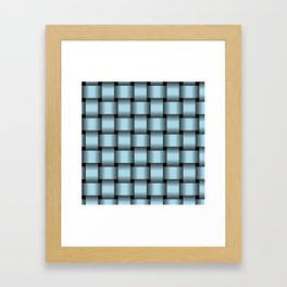 Large Light Blue Weave Framed Art Print