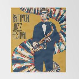 Jazz Festival Poster Throw Blanket