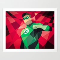 dc comics Art Prints featuring DC Comics Green Lantern by Eric Dufresne