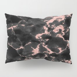 Beautiful Black marble with Glittery Rose Gold Veins Pillow Sham