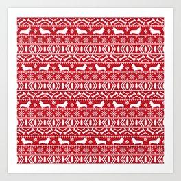 Corgi Fair Isle christmas sweater with dogs cute must have corgi gifts by pet friendly Art Print