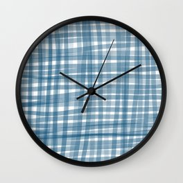 Baby blue watercolor gingham Wall Clock