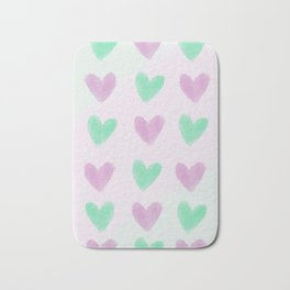 Pastel hearts pattern Bath Mat