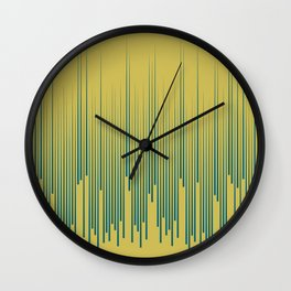Tropical Dark Teal Minimal Frequency Line Art Inspired by Sherwin Williams 2020 Trending Color Oceanside SW6496 on Dark Yellow Wall Clock