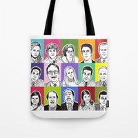 the office Tote Bags featuring The Office by turddemon