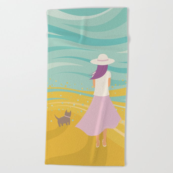 Listen to the Ocean (Girl and Cat Vector Graphic Illustration) Beach Towel