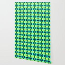 Green Yellow Geometric Metallic Diamond Pattern Wallpaper