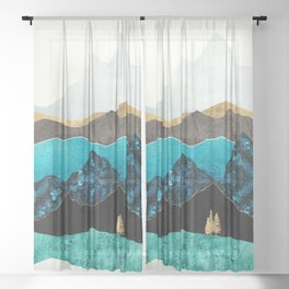 Teal Afternoon Sheer Curtain
