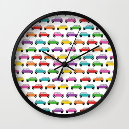 Vintage Mini Cars in rainbow colors Wall Clock