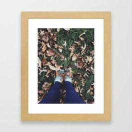 Fall Leaves & Shoes Framed Art Print