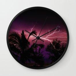 Sunset Lightening Storm (Color) Wall Clock