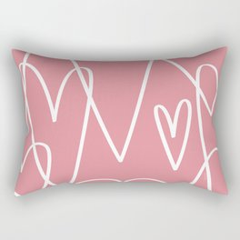 Doodle Hearts in Pink by Friztin Rectangular Pillow