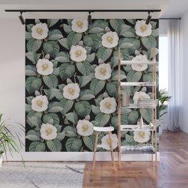 White Camellia Flowers On Black Wall Mural