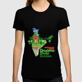 Chashma Shahi Garden Srinagar Jammu and Kashmir India Chashma i Shahi Chashme Shahi Colorful Flower Green Tree Grass Hill Water T-shirt
