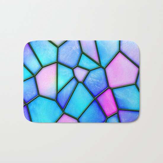 pastel stained glass Bath Mat
