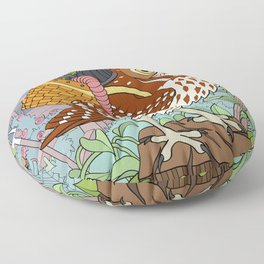 Little Owl with Packed Basket Floor Pillow