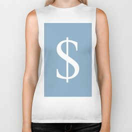 dollar sign on placid blue color background Biker Tank