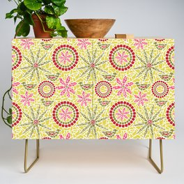 Birds and Flowers Mosaic - Yellow, green and pink Credenza