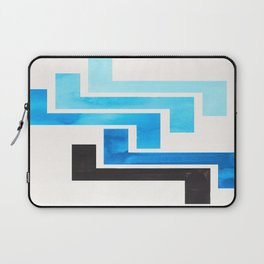 Cerulean Blue Aztec Pattern Mid-century Modern Simple Geometric Pattern Watercolor Minimalist Art Sq Laptop Sleeve