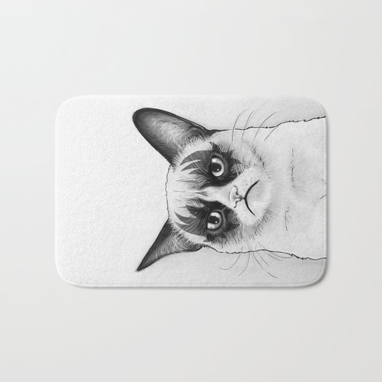 Grumpy Simmons Cat Whimsical Funny Animal Music Bath Mat