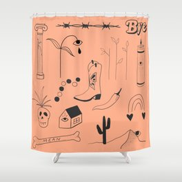 Orange Flash Sheet Shower Curtain