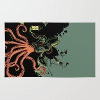 scuba Area & Throw Rugs featuring tentacle scuba by Sarah Baslaim