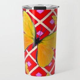 Yellow Butterflies on Red Patterned Art Travel Mug