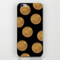 polkadot iPhone & iPod Skins featuring GOLD POLKADOT 1 by wlydesign