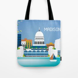 Madison, Wisconsin - Skyline Illustration by Loose Petals Tote Bag