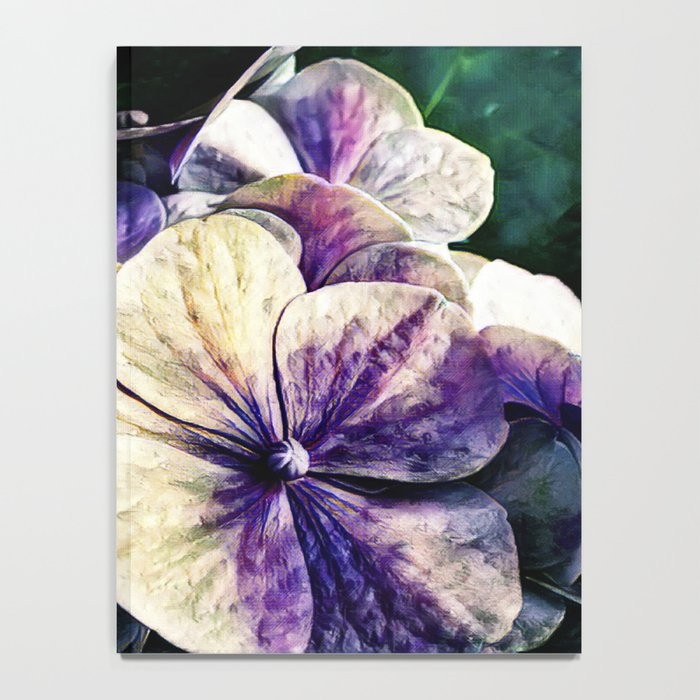 Hortensia flowers in vintage grunge watercoloring style Notebook